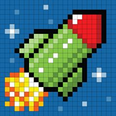 Pixel Rocket Art Print by Wongstock.com