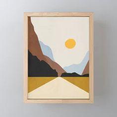Minimal Art Landscape 9 Art Print by thindesign Simple Canvas Paintings, Small Canvas Art, Mini Canvas Art, Diy Canvas, Minimalist Painting, Minimalist Art, Posca Art, Abstract Geometric Art, Guache