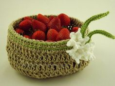 Crochet Hemp Basket with Spring Crocus by VSMHandcraftedDesign, $35.00