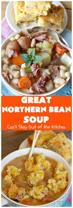 Great Northern Bean Soup – Can't Stay Out of the Kitchen Best Ham And Bean Soup Recipe, Bean Soup Recipes, Chili Recipes, Bacon Cornbread, Ham And Beans, Great Northern Beans, Best Comfort Food, Stuffed Hot Peppers, International Recipes