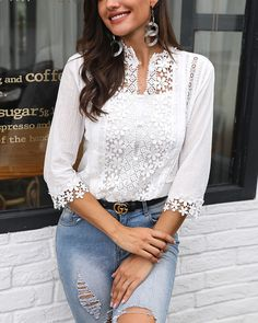 Plunge Half Sleeve Crochet Lace Splicing Casual Blouse Women's Online Shopping Offering Huge Discounts on Dresses, Lingerie , Jumpsuits , Swimwear, Tops and More. Trend Fashion, Fashion Outfits, Fashion Clothes, Trendy Outfits, Latest Fashion, Womens Fashion Online, Casual Tops, Half Sleeves, Pattern Fashion