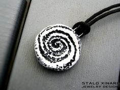 Unisex Spiral hand sculpted pendant in black and white color. Fantasy artistic symbol necklace. (25.00 EUR) by SXtheArtConcept