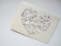 Musical Hearts Valentine's Day Card  Paper hearts by MartyMakes,