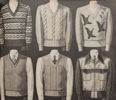 1942 men's sweaters and sweater vests