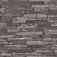 Lei-baksteen 9142-24 | behang Wood n Stone van AS Creation | kleurmijninterieur.nl