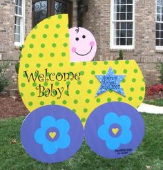 birthday cake yard sign | Rent an adorable stork sign, baby buggy or birthday cake in Raleigh ...