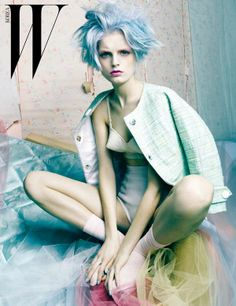 Vogue Korea - Cotton Candy Captures - Featuring models Anais Mali, Crystal Renn…