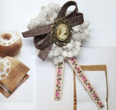 Rustic Embroidery Ribbon Cameo Lace Pin Brooch from Little Heartwarming by DaWanda.com