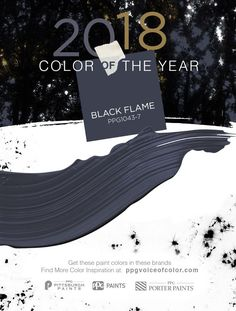 Dress your home in the new neutral, the PPG 2018 Paint Color of the Year, Black Flame. This statement-making black, infused with an undertone of the deepest indigo, evokes the privacy, hope and classic modernism that many consumers crave today. Embodying the spirit of a tailored tuxedo or a little black dress, it is dressed-up, coveted, unapologetic and – most importantly – timeless.