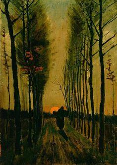 Vincent van Gogh - Lane of Poplars at Sunset - 1884