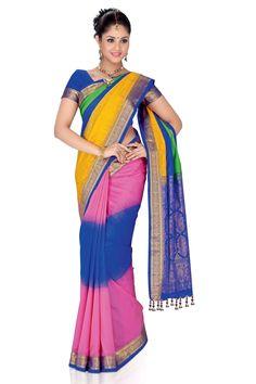 Designer Multi-colour weaved pure #silk saree in #blue Zari weaved pallu & #golden saree border along with blue plain blouse in golden border