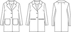 The Classic Coat PDF sewing pattern is designed for a wool or wool blend coat fabric. The pattern has both chest and shoulder darts and a feminine round lapel and collar. The coat is fully lined, and