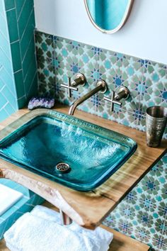 Jungalow bath Before and after with Kohler – guest toilet – # guest toilet … – wood workings diy - Bathroom Ideas Guest Toilet, Beautiful Bathrooms, Dream Bathrooms, Colorful Decor, Home Remodeling, Home Design, Design Ideas, Key Design, Home Improvement
