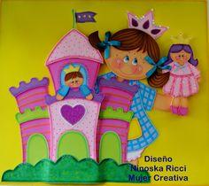 Molde painel castelo da princesa em EVA decoração para festa aniversário e sala de aula.