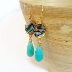 shell earrings dangle shell earrings abalone shell by AinaKai, $68.00