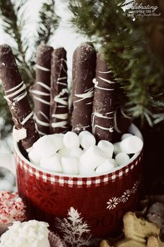 chocolate dipped pretzel rods for Front Porch Hot Cocoa Bar, Hot Chocolate Bar, Winter Party Idea, Christmas Party Idea