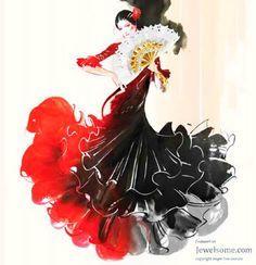 Potrayal of Flamenco dancer with Espana jewelry Fan