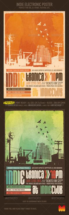 Indie Electronic Flyer/Poster - Clubs & Parties Events