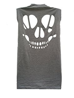 Lush Clothing B19-Cut Out Skull Open Back Sleeveless Loose Slouch Fit Vest Top-Size 8.10.12.14 - Grey - S/M=Uk 8-10 Lush Clothing http://www.amazon.co.uk/dp/B00I9TC28M/ref=cm_sw_r_pi_dp_mQhdvb0CTNP1T
