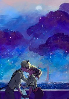 Kissing under a starry night (Miraculous Ladybug, Ladynoir, Chat Noir)