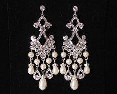 Bridal Chandelier earrings,crystal pearl Wedding Earrings,Statement wedding chandelier earrings,prom earrings,bridal jewelry, bridal earings on Etsy, $60.00