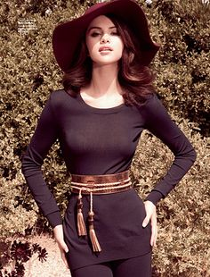 Selena Gomez in Altuzarra top and pants, Gucci belt, and Scala Pronto hat for Elle Mexico
