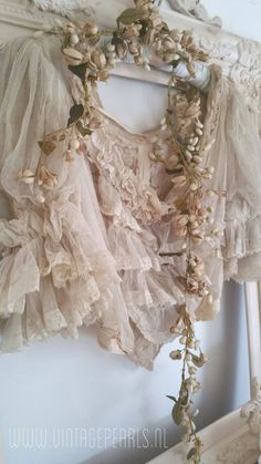 French Vintage Wax Flowers and Stunning Beautiful Blouse ~