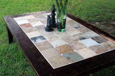 """Gran mesa centro de mesa de pizarra, """"Otoño indio"""", madera recuperada, marrón…"""