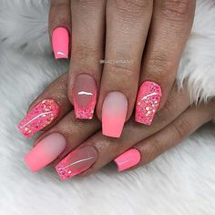 Pink nail art designs are the most popular among women. No matter how old you are, pink is the favorite color for most girls, because pink nail art designs make you look young and lively. Don't think pink will limit nail art design. Pink Nail Art, Summer Acrylic Nails, Best Acrylic Nails, Acrylic Nail Designs, Pink Nails, Nail Art Designs, Nails Design, Bright Nails Neon, Nailart