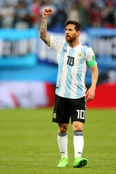 Lionel Messi of Argentina celebrates after scoring his team's first goal during the 2018 FIFA World Cup Russia group D match between Nigeria and Argentina at Saint Petersburg Stadium on June 2018 in Saint Petersburg, Russia. Fc Barcelona, Lionel Messi Barcelona, Argentina Football Team, Messi Argentina, Messi Vs Ronaldo, Messi 10, Antonella Roccuzzo, Lionel Messi Wallpapers, France Football