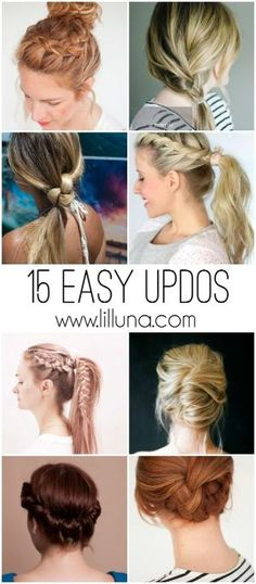 15 easy updos for all lengths and types of hair! Perfect for lazy days and rushed mornings when you just need to throw your hair up! See it on { lilluna.com } by maryann