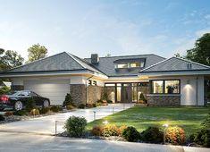Projekt domu Wyjątkowy 2 201,09 m² - koszt budowy - EXTRADOM Modern Bungalow House Design, Modern Villa Design, Plans Architecture, Architecture Design, Home Building Design, Building A House, Prairie House, Architectural House Plans, My House Plans
