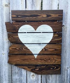 This jigsawed Arizona is handmade out of upcycled pallets. The unique upcycled pallet boards are stained in mocha brown with the heart painted on and distressed in white. This piece is perfect for any Pallet Painting, Pallet Art, Diy Pallet Projects, Wood Projects, Pallet Boards, Pallet Wood, Pallet Crafts, Old Pallets, Recycled Pallets