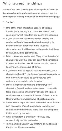 Writing great friendships Some of the best chemistry/relationships in fiction exist between characters who are/become friends. Book Writing Tips, Creative Writing Prompts, Writing Quotes, Writing Resources, Writing Help, Writing Skills, Writing Workshop, Writing Ideas, Writing Fantasy