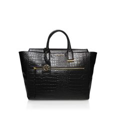 croc beatrice tote black tote bag from Kurt Geiger London