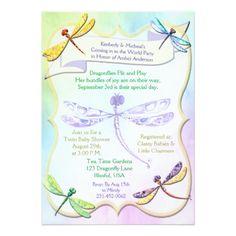 Pastel Jewel Tone Dragonfly Baby Shower Invite - wedding invitations diy cyo special idea personalize card