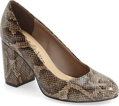 BELLA VITA Women's Shoes in Natural Snake Print Leather Color. A curved  almond toe and block heel amplify the timeless sophistication of a standby  pump that ...