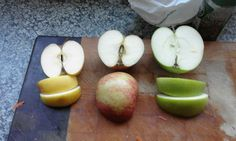 Visual to show children that once we cut open all the apples they were exactly the same. on the inside