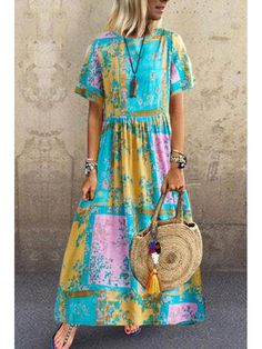 Commuting Round Neck Short Sleeve Pressure Plait Printed Colour Dress dresses for vacation vacation outfit ideas vacation dresses mexico travel dress outfit beach vacation dresses travel dress vacation fashion summer vacation dresses Vestidos Vintage, Vintage Dresses, Casual Dresses, Summer Dresses, Maxi Dresses, Linen Dresses, Summer Maxi, Trendy Dresses, Elegant Dresses