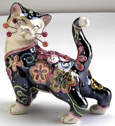 Whimsiclay Beau Floral Fantasy Cat