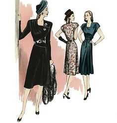 Vintage reproduction sewing pattern to make a gorgeous semi-fitted, lined dress. Love the 1940s? Find more40s vintage reproductions and original 40s vintage he