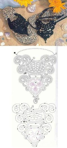 Crochet Sandals - Chart to embellish flip-flops Crochet Diagram, Crochet Chart, Crochet Motif, Diy Crochet, Crochet Designs, Crochet Patterns, Crochet Top, Crochet Flowers, Crochet Flip Flops