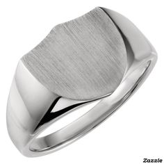 Engraved Sterling Silver Shield Signet Ring