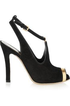 Yves Saint Laurent'Greta' Suede & Metallic Leather Slingback Pumps #YSL #Shoes #Heels