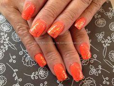 Tiki+tiki+gelish+gel+polish+with+glitter+fade+over+acrylic+nails