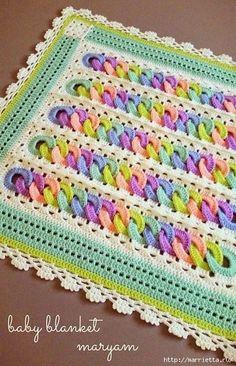 Детский плед крючком с узором из разноцветных колечек (Вязание для дома) | Журнал Вдохновение Рукодельницы