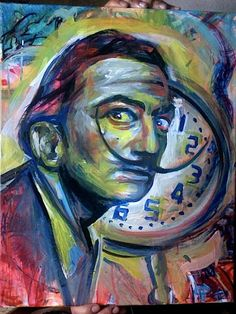 Tribute to Salvador Dalí.    Acrylic on 16x20 canvas (for sale)