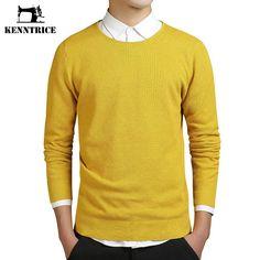 Kenntrice Coarse Wool Work Men Yellow Sweater Solid O-Neck Preppy Style Warm Men Pullover Slim Jumpers Men Maglione uomo