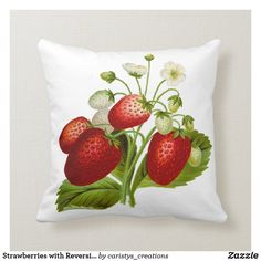 Strawberries with Reversible White/Red Backing Throw Pillow Granny Flat, Cottage Living, Garden Flags, Custom Pillows, New Moms, Strawberries, Mud, Farmhouse Decor, Your Design