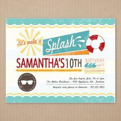 Pool Party Birthday Invitations - Summer, Vintage. $24.95, via Etsy.